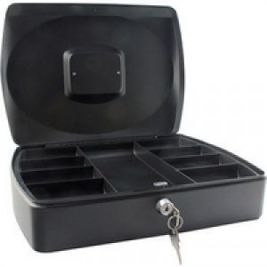 Q-Connect Cash Box 10 inch Black