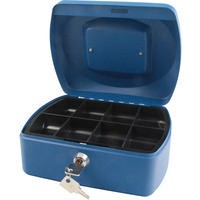 Q-Connect Cash Box 8 inch Blue