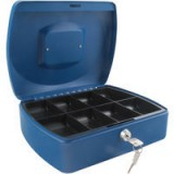 Q-Connect Cash Box 10 inch Blue