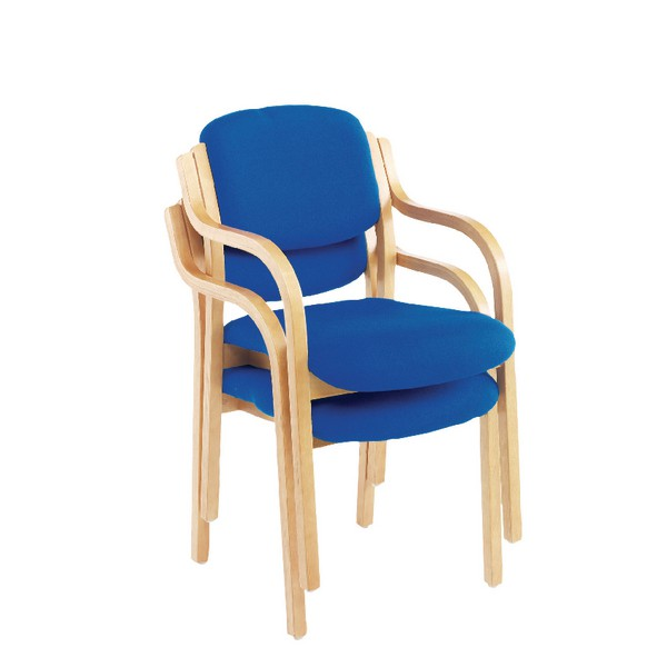 Jemini Wood Frame Side Chair with Arms Blue