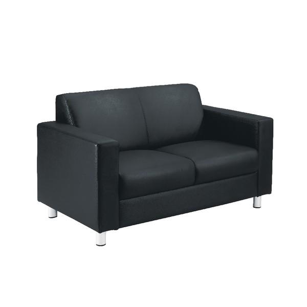 Avior Leather Faced Executive Reception Sofa Black