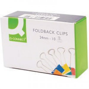 Q-Connect Foldback Clip 24mm Assorted Pack of 10 KF03652
