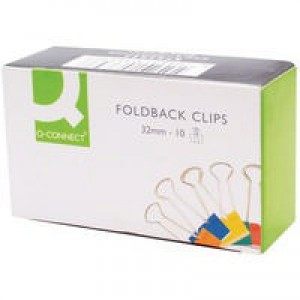 Q-Connect Foldback Clip 32mm Assorted Pack of 10 KF03653