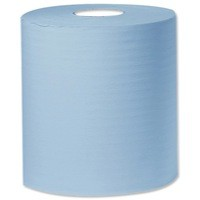 2work Centre Feed Roll 1-Ply 300 Metre Blue Pack of 6 C1B300