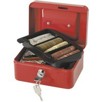 Q-Connect Cash Box 6 inch Red