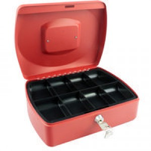 Q-Connect Cash Box 10 inch Red