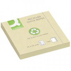 Q-Connect Quick Note Repositionable Pad Recycled 75x75mm Yellow KF05609