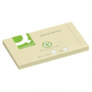 Q-Connect Quick Note Repositionable Pad Recycled 75x125mm Yellow KF05610