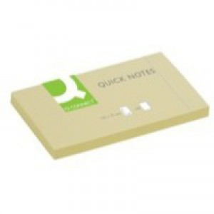 Q-Connect Quick Note Repositionable Pad 75x125mm Yellow