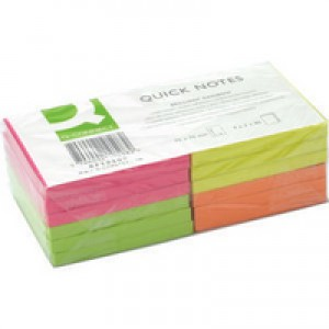 Q-Connect Quick Note Repositionable Pad 75x75mm Assorted Neon