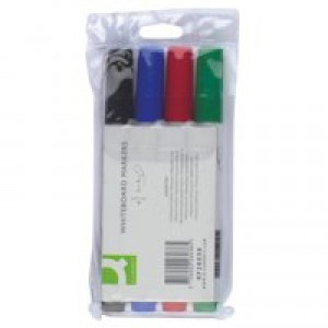 Q-Connect Dry Wipe Marker Wallet of 4 Assorted KF26038