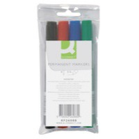 Q-Connect Permanent Marker Bullet Tip Wallet of 4 Assorted