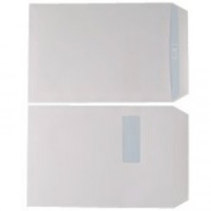 Q-Connect Envelope C4 Window 90gsm White Self-Seal Pack of 250 KF3501