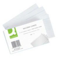 Q-Connect Record Card 5x3 inches Ruled Feint White Pack of 100