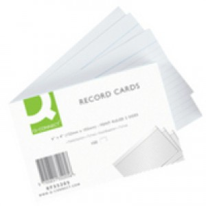 Q-Connect Record Card 6x4 inches Ruled Feint White Pack of 100 KF35205