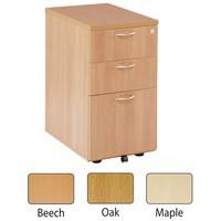 Jemini 3 Drawer Desk High Pedestal 600mm Maple