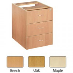 Jemini 3-Drawer Fixed Pedestal Oak KF72079