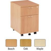 Jemini 2-Drawer Mobile Pedestal Oak