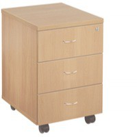 Jemini 3-Drawer Mobile Pedestal Beech