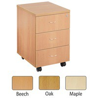 Jemini 3-Drawer Mobile Pedestal Oak