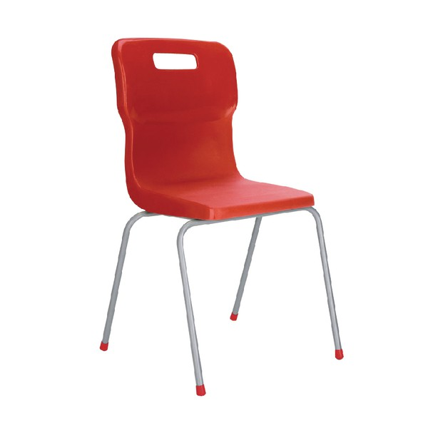 Titan 4 Leg Polypropylene School Chair Size 3 Red