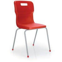 Titan 4 Leg Polypropylene School Chair Size 4 Red