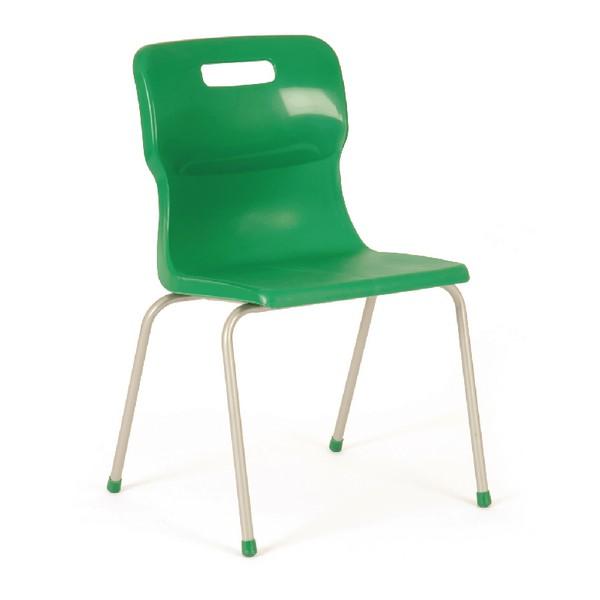 Titan 4 Leg Polypropylene School Chair Size 4 Green