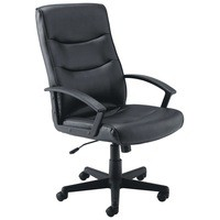 Jemini Hudson Leather Look Executive Chair with Arms Black