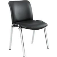 Avior Conference High Back Chrome Chair Black PU