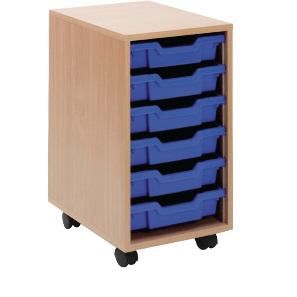 Jemini Mobile Storage Unit 6 Blue Trays Beech