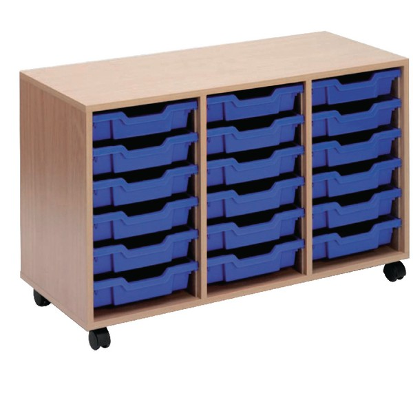 Jemini Mobile Storage Unit 18 Blue Trays Beech