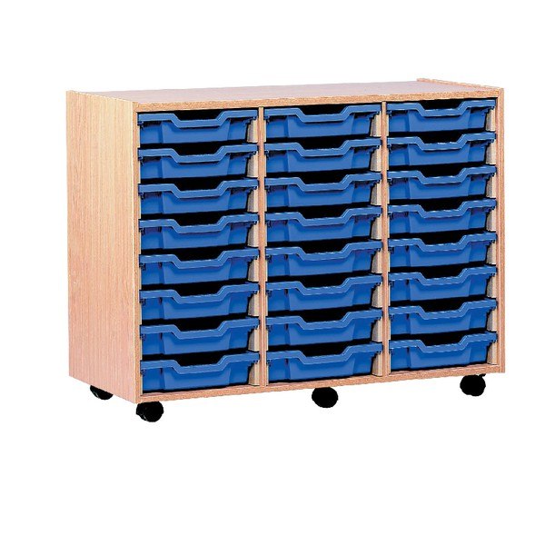 Jemini Mobile Storage Unit 24 Tray Beech