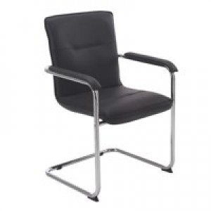 Arista Visit Chair Leather Look Black