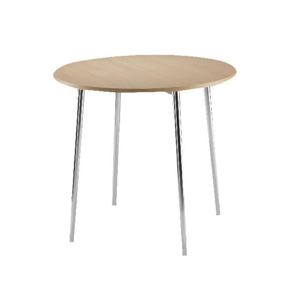 Arista Round Bistro Table Beech/Chrome