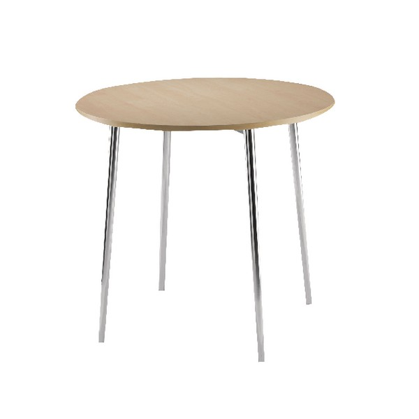Arista Round Bistro Table Beech/Chrome