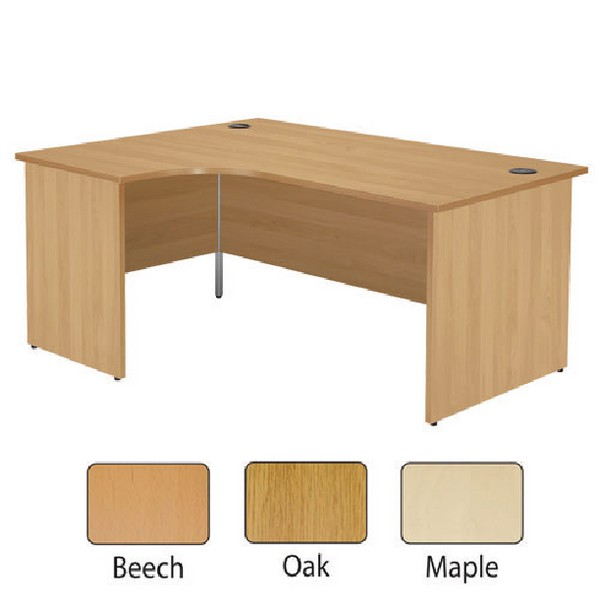 Jemini 1600mm Left-Hand Panel End Radial Desk Maple