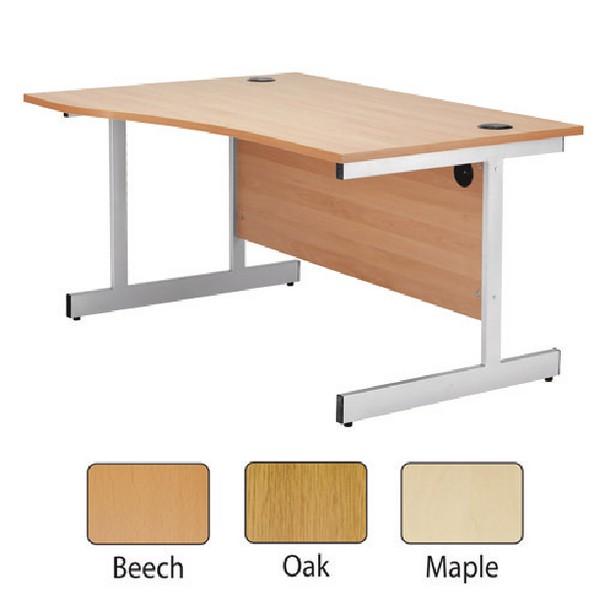 Jemini 1600mm Left-Hand Cantilever Wave Desk Oak
