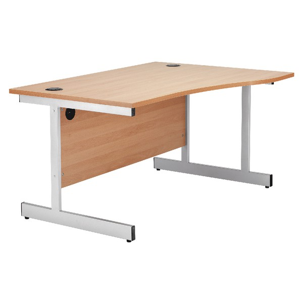 Jemini 1600mm Right-Hand Cantilever Wave Desk Beech