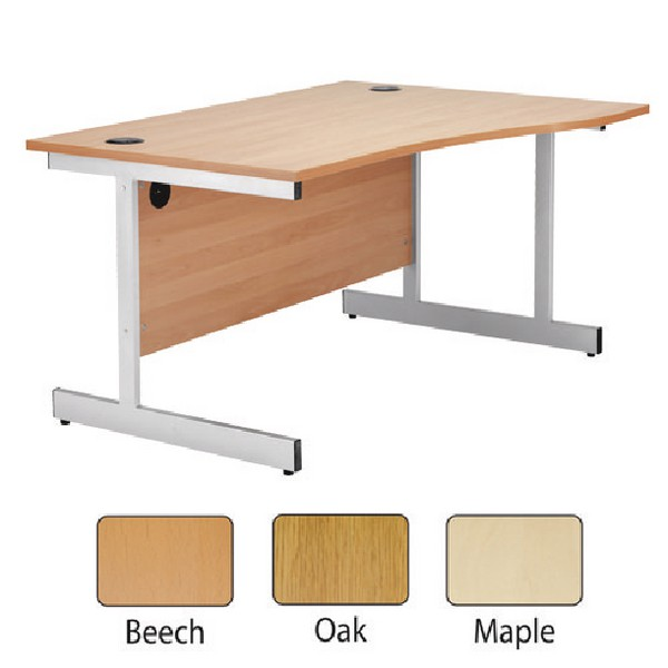 Jemini 1600mm Right-Hand Cantilever Wave Desk Maple