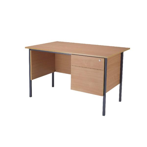 Jemini 1200mm 4 Leg Desk with 2 Drawer Pedestal Bavarian Beech