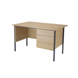 Jemini 1200mm 4 Leg Desk with 3 Drawer Pedestal Ferrera Oak KF838374
