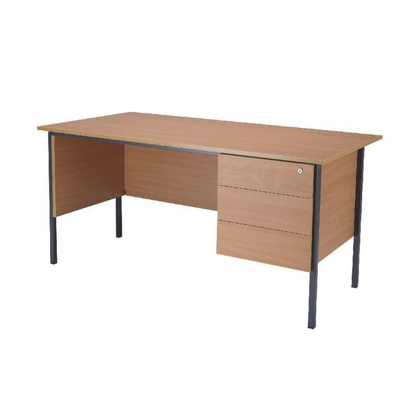 Jemini 1500mm 4 Leg Desk with 3 Drawer Pedestal Bavarian Beech