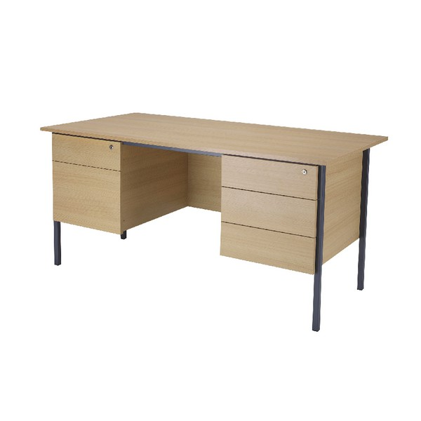 Jemini Intro 1500mm 4 Leg Double Pedestal Desk Ferrera Oak