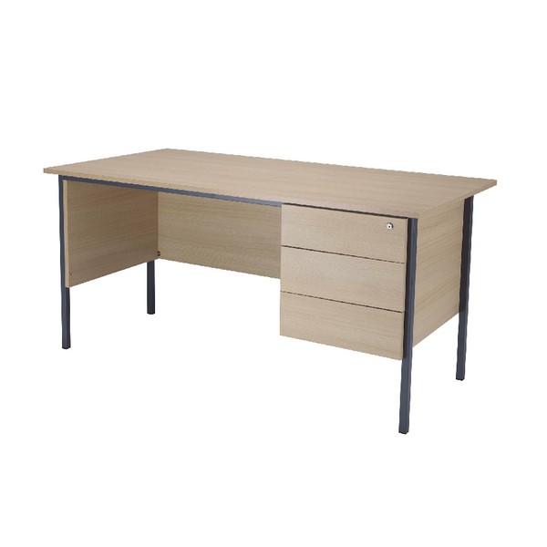 Jemini Intro 1500mm 4 Leg Desk with 3 Drawer Pedestal Warm Maple