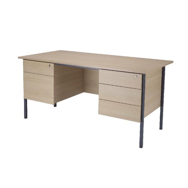 Jemini Intro 1500mm 4 Leg Desk Double Pedestal Warm Maple