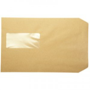 Q-Connect Pocket Envelope C5 Window 115gsm Manilla Peel and Seal Pack of 500 KF97370