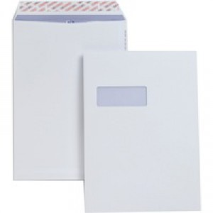 Plus Fabric Envelopes Pocket Peel and Seal Window 120gsm C4 White [Pack 250]