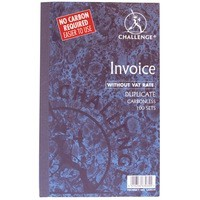 Image for Challenge Duplicate Book Carbonless Invoice without VAT/tax 100 Sets 210x130mm Ref 100080526 [Pack 5]