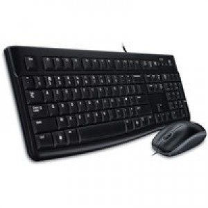 Logitech MK120 UK Desktop Wired USB Keyboard Low-profile Keys and Optical Mouse Ref 920-002552