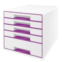 Image for Leitz WOW Desk Cube 5 Drawer Purple Each 52131062
